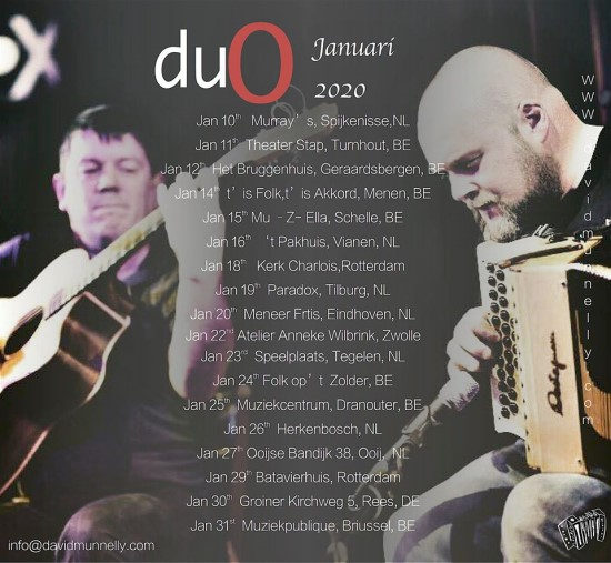 David Munelly Duo concerts in Jannuary - DE/BE/NL